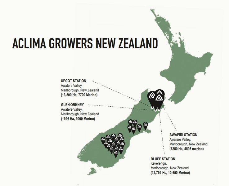 Aclima Suppliers Map New Zealand